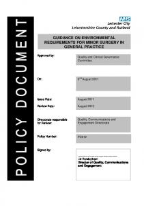 GUIDANCE ON ENVIRONMENTAL REQUIREMENTS FOR MINOR SURGERY IN GENERAL PRACTICE