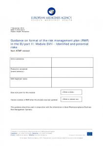 Guidance on format of the risk management plan (RMP) in the EU part II: Module SVII - Identified and potential risks