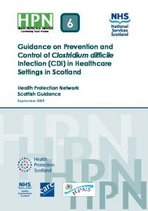 Guidance on Prevention and Control of Clostridium difficile Infection (CDI) in Healthcare Settings in Scotland