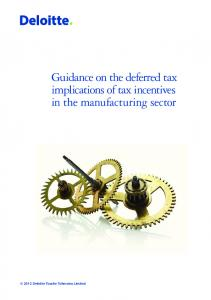 Guidance on the deferred tax implications of tax incentives in the manufacturing sector