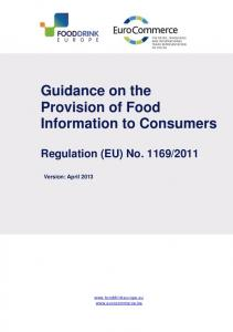 Guidance on the Provision of Food Information to Consumers