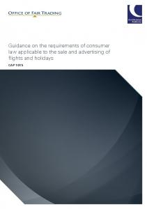 Guidance on the requirements of consumer law applicable to the sale and advertising of flights and holidays CAP 1015