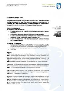 Guide for Business PhD