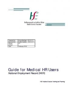 Guide for Medical HR Users National Employment Record (NER)