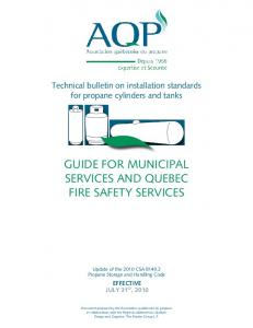GUIDE FOR MUNICIPAL SERVICES AND QUEBEC FIRE SAFETY SERVICES