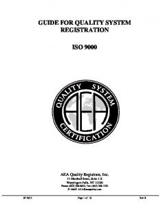 GUIDE FOR QUALITY SYSTEM REGISTRATION ISO 9000