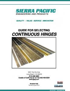 GUIDE FOR SELECTING CONTINUOUS HINGES