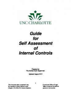 Guide for Self Assessment of Internal Controls