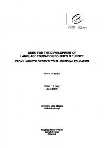 GUIDE FOR THE DEVELOPMENT OF LANGUAGE EDUCATION POLICIES IN EUROPE