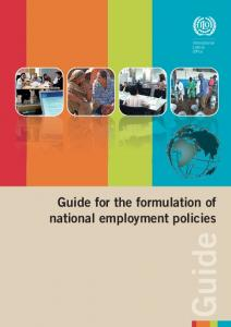 Guide for the formulation of national employment policies Guide