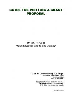 GUIDE FOR WRITING A GRANT PROPOSAL