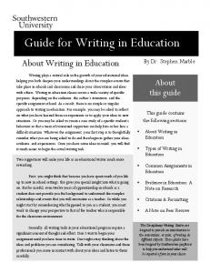 Guide for Writing in Education