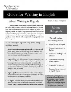 Guide for Writing in English