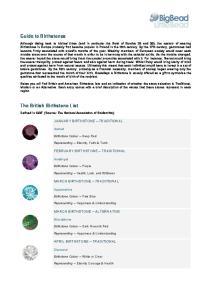 Guide to Birthstones. The British Birthstone List JANUARY BIRTHSTONE TRADITIONAL FEBRUARY BIRTHSTONE TRADITIONAL MARCH BIRTHSTONE TRADITIONAL