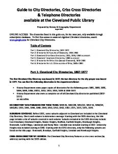 Guide to City Directories, Criss Cross Directories & Telephone Directories available at the Cleveland Public Library