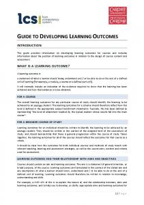 GUIDE TO DEVELOPING LEARNING OUTCOMES