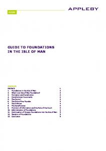 GUIDE TO FOUNDATIONS IN THE ISLE OF MAN