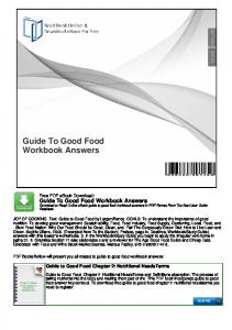 Guide To Good Food Workbook Answers