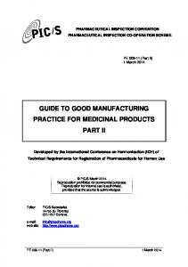 GUIDE TO GOOD MANUFACTURING PRACTICE FOR MEDICINAL PRODUCTS PART II