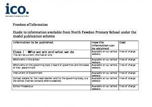 Guide to information available from North Fawdon Primary School under the model publication scheme