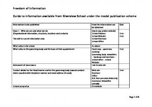 Guide to information available from Riverview School under the model publication scheme