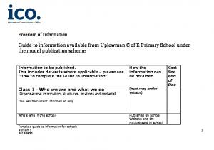 Guide to information available from Uplowman C of E Primary School under the model publication scheme