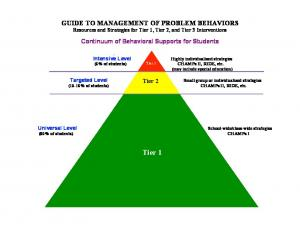 GUIDE TO MANAGEMENT OF PROBLEM BEHAVIORS Resources and Strategies for Tier 1, Tier 2, and Tier 3 Interventions