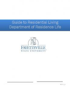 Guide to Residential Living Department of Residence Life