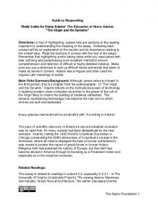 Guide to Responding. Study Guide for Henry Adams The Education of Henry Adams: The Virgin and the Dynamo