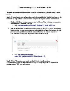 Guide to Running FELIX on Windows 7 64-Bit