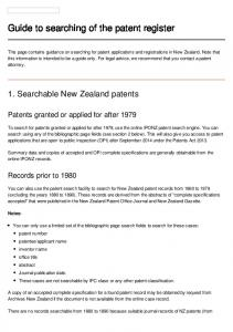 Guide to searching of the patent register