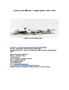 Guide to the William F. Cody Papers,