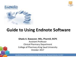 Guide to Using Endnote Software