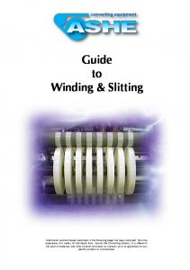 Guide to Winding & Slitting