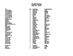 Guided Reading Book List - Level F