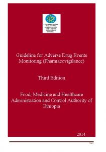 Guideline for Adverse Drug Events Monitoring (Pharmacovigilance) Third Edition