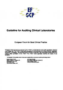 Guideline for Auditing Clinical Laboratories