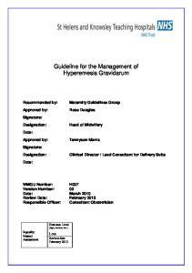 Guideline for the Management of Hyperemesis Gravidarum