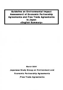 Guideline on Environmental Impact Assessment of Economic Partnership Agreements and Free Trade Agreements in Japan