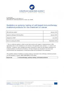 Guideline on potency testing of cell based immunotherapy medicinal products for the treatment of cancer