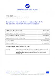 Guideline on the evaluation of medicinal products indicated for treatment of bacterial infections