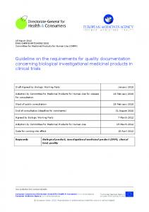 Guideline on the requirements for quality documentation concerning biological investigational medicinal products in clinical trials