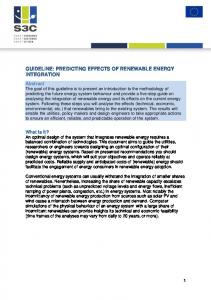 GUIDELINE: PREDICTING EFFECTS OF RENEWABLE ENERGY INTEGRATION