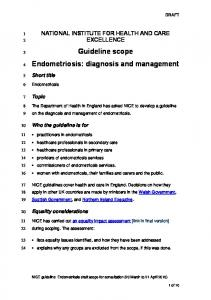 Guideline scope Endometriosis: diagnosis and management