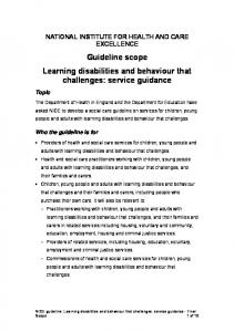 Guideline scope Learning disabilities and behaviour that challenges: service guidance