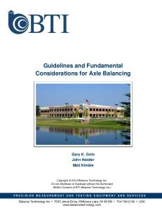 Guidelines and Fundamental Considerations for Axle Balancing