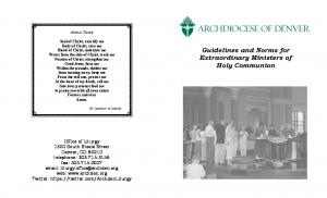 Guidelines and Norms for Extraordinary Ministers of Holy Communion