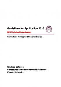 Guidelines for Application 2016
