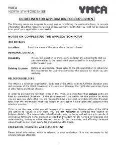 GUIDELINES FOR APPLICATION FOR EMPLOYMENT