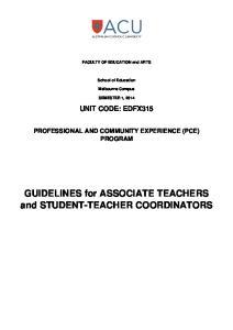 GUIDELINES for ASSOCIATE TEACHERS and STUDENT-TEACHER COORDINATORS
